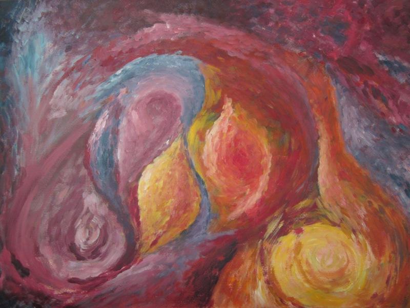 De ruimte (2012) - acryl op acrylpapier, 69 bij 49 cm (privé collectie)