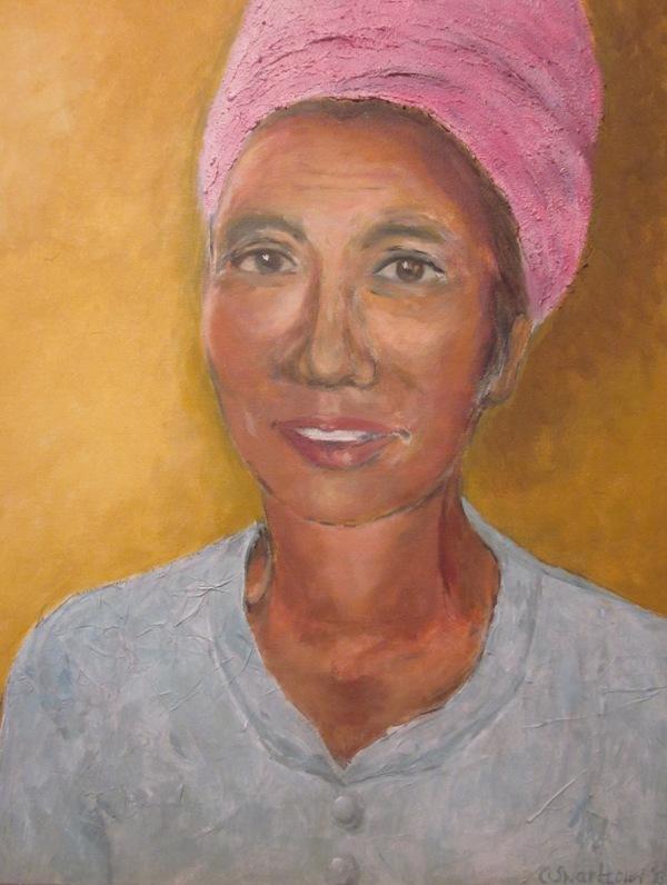 De oosterse dame (2013) - gemengde techniek en acryl op doek, 50 x 60 cm