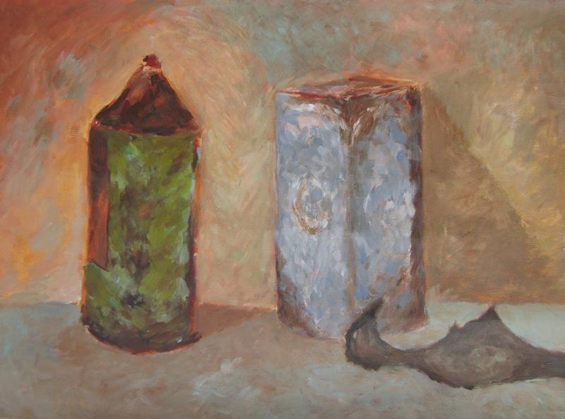 Pot en blik (2012) - acryl op acrylpapier, 70 bij 50 cm