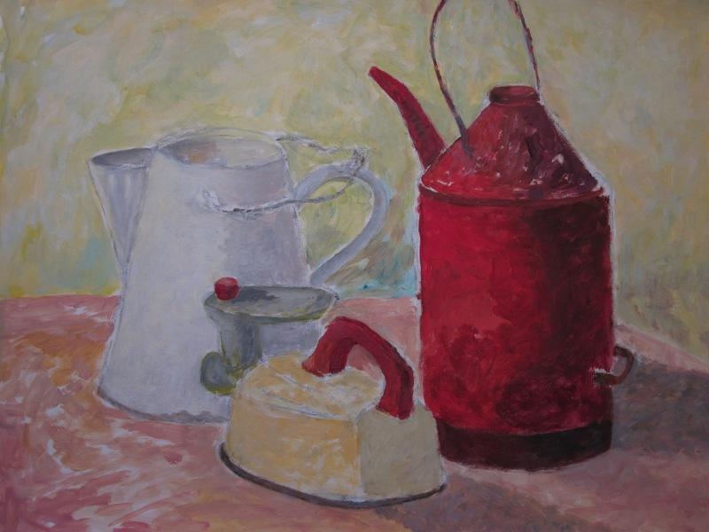 Red, white & yellow (2014) -  acryl op acrylpapier, 65 bij 49 cm