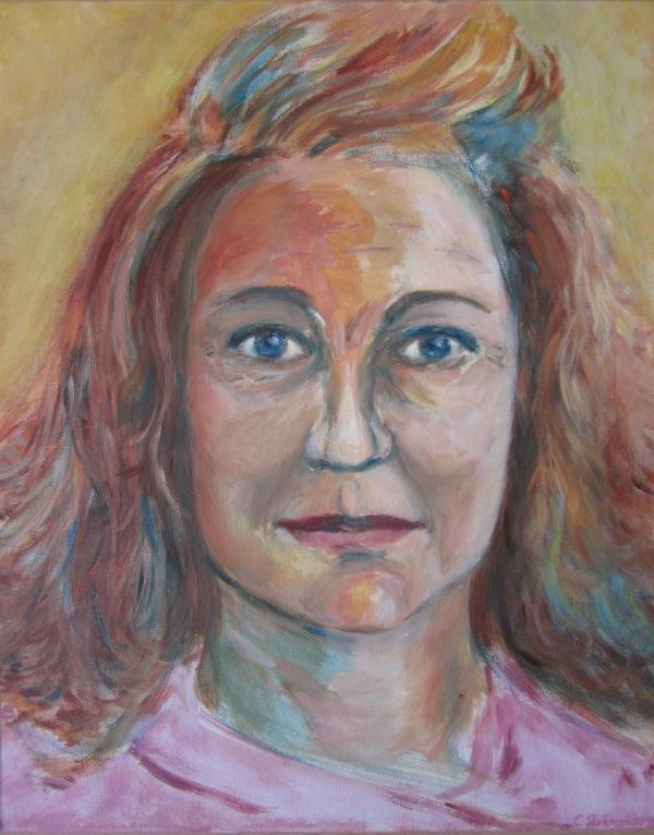 Red lady (2014) - acryl op doek, 38 x 48 cm