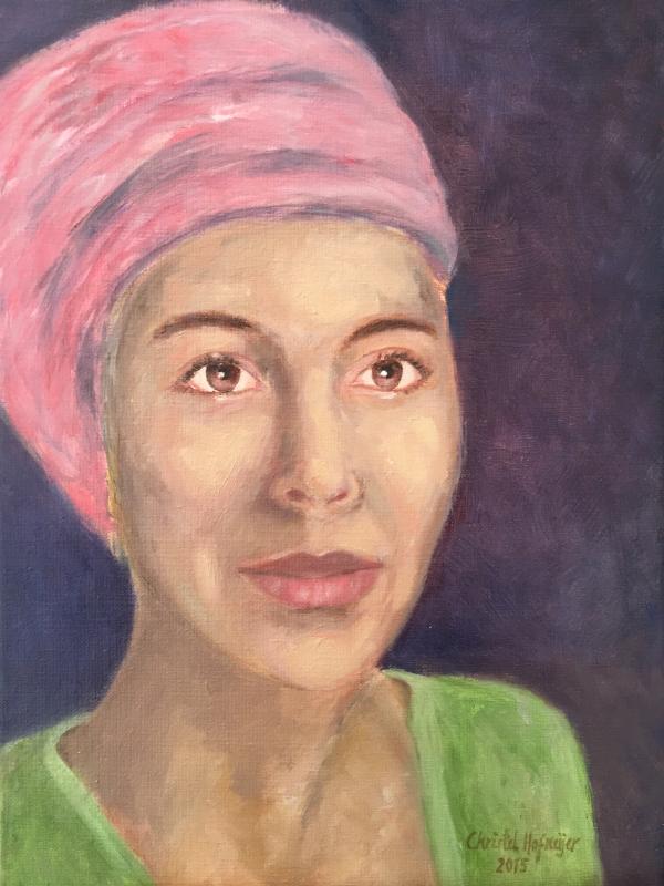 Dame in rose (2015) - olieverf op linnen, 30 x 40 cm