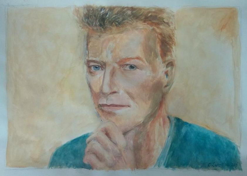 Bowie (2016) - acryl op acrylpapier