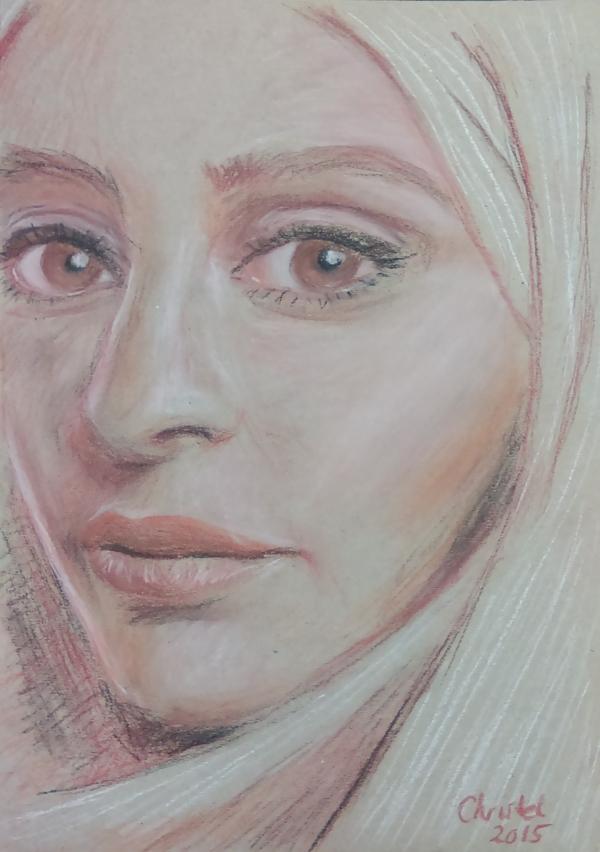 Dame in pastel (2015) - pastelkrijt op papier