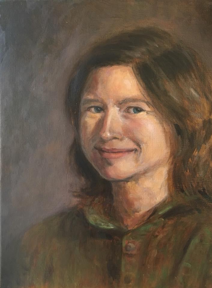 Zelfportret (2018) - olieverf op linnen, 30 x 40 cm (privé collectie)