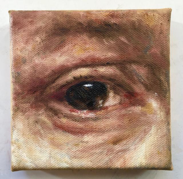 Rembrandts oog (2018) - olieverf op doek, 10 x 10 cm